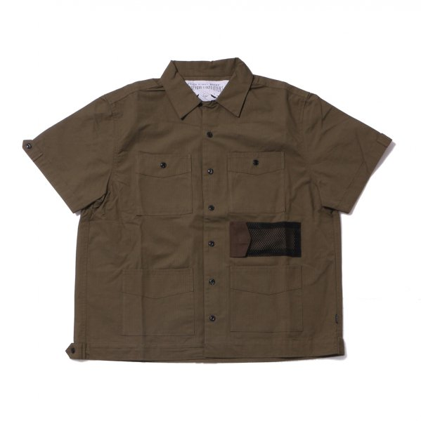 COTTON RIP KEROUAC OPEN COLLAR SHIRT - OLIVE