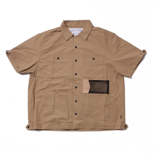 COTTON RIP KEROUAC OPEN COLLAR SHIRT - BEIGE
