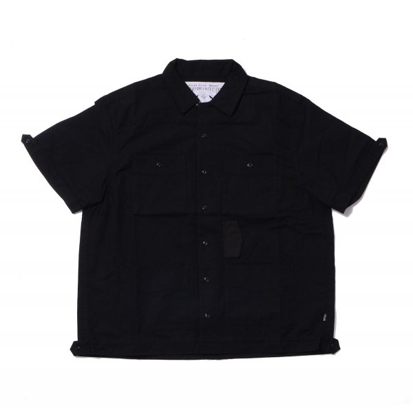 COTTON RIP KEROUAC OPEN COLLAR SHIRT - BLACK