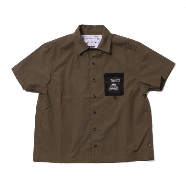COTTON LIP MESH POCKET OPEN COLLAR SHIRT - OLIVE