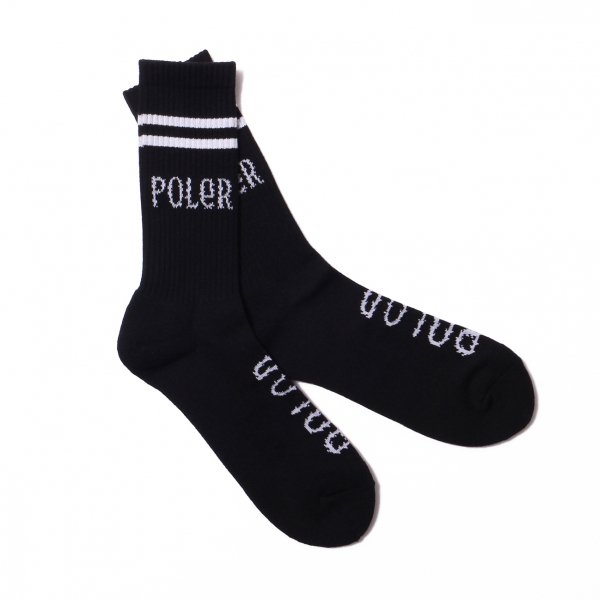 FURRY FONT SKATE SOCKS - BLACK