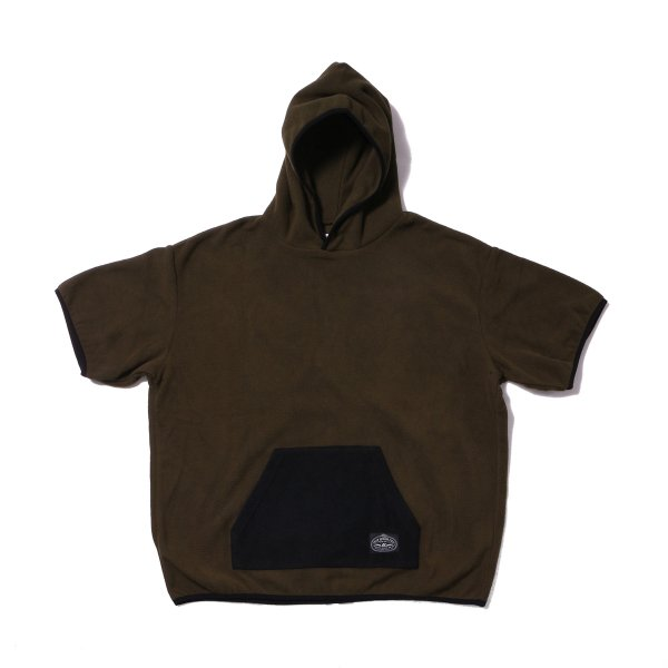 FLEECE BAGGY HOOD S/S TEE - OLIVE