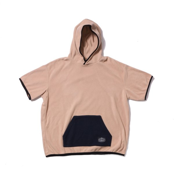 FLEECE BAGGY HOOD S/S TEE - BEIGE
