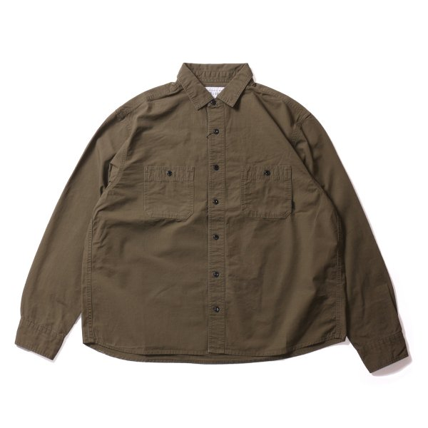 WASHED L/S BUTTON DOWN SHIRT - OLIVE