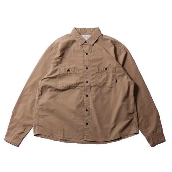 WASHED L/S BUTTON DOWN SHIRT - BEIGE