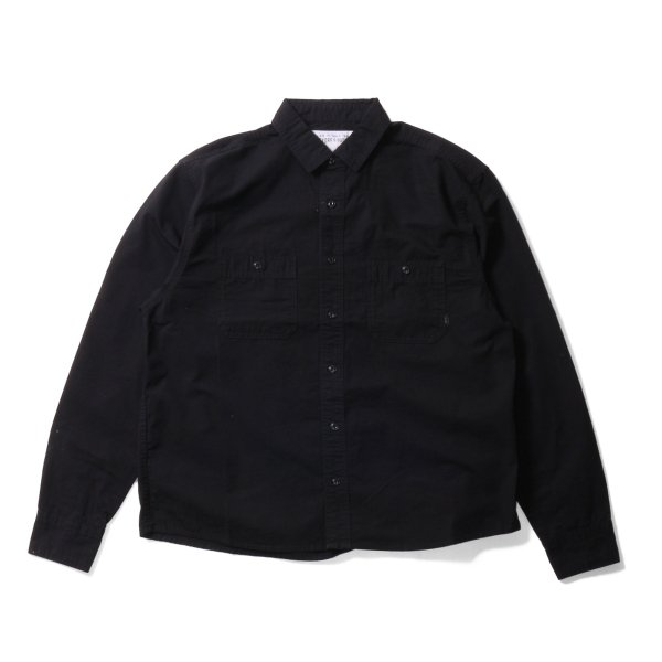 WASHED L/S BUTTON DOWN SHIRT - BLACK