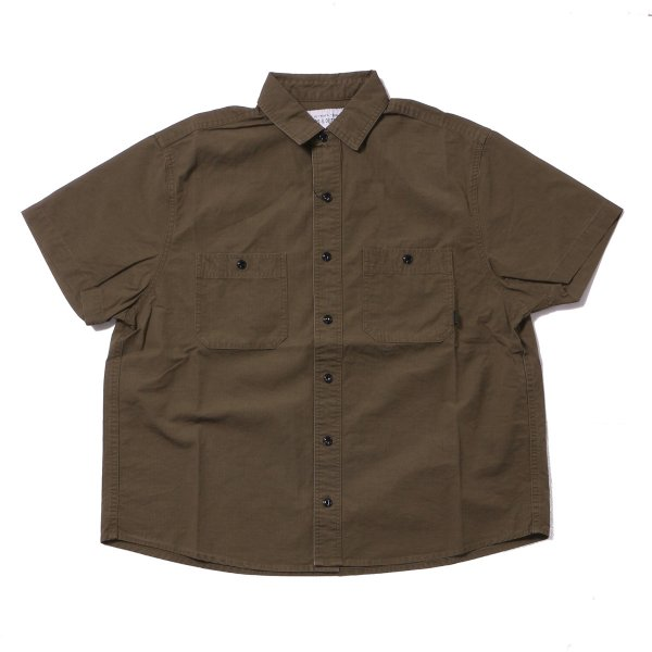 WASHED S/S BUTTON DOWN SHIRT - OLIVE