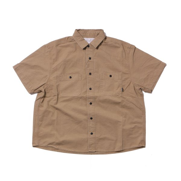 WASHED S/S BUTTON DOWN SHIRT - BEIGE