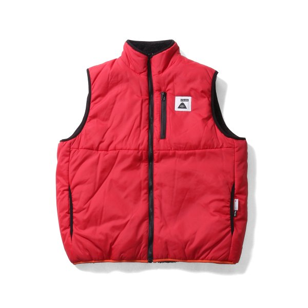 REVERSIBLE POLER PUFF VEST - RED/BLACK SHEEP