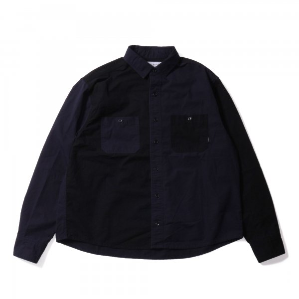WASHED L/S BUTTON DOWN SHIRT - NAVY MULTI