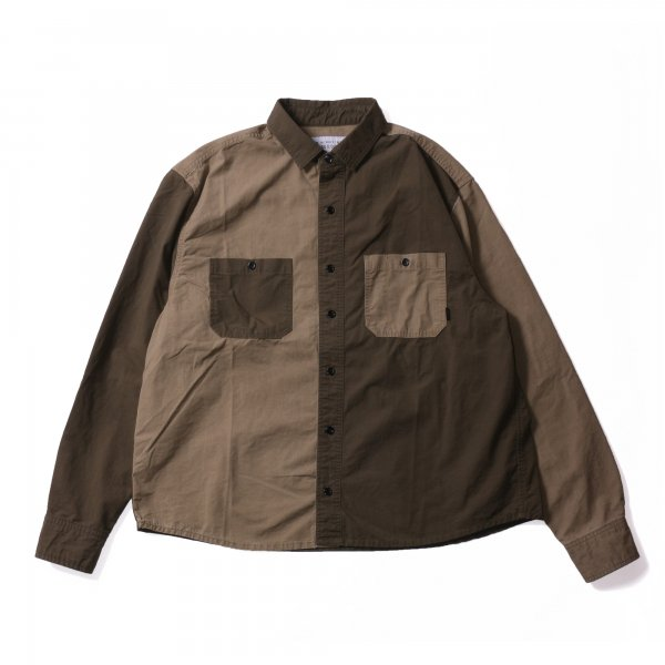 WASHED L/S BUTTON DOWN SHIRT - OLIVE MULTI