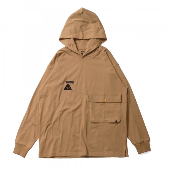 SUMMT HEAVY WEIGHT DOUBLE POCKET L/S TEE HOODIE - BEIGE