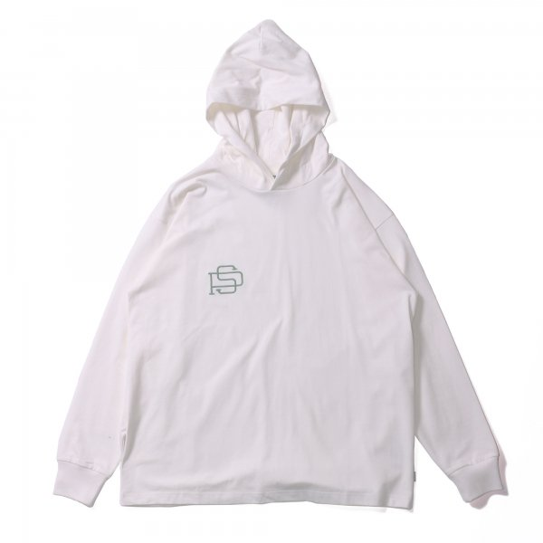 PS EMB HEAVY WEIGHT L/S TEE HOODIE - WHITE