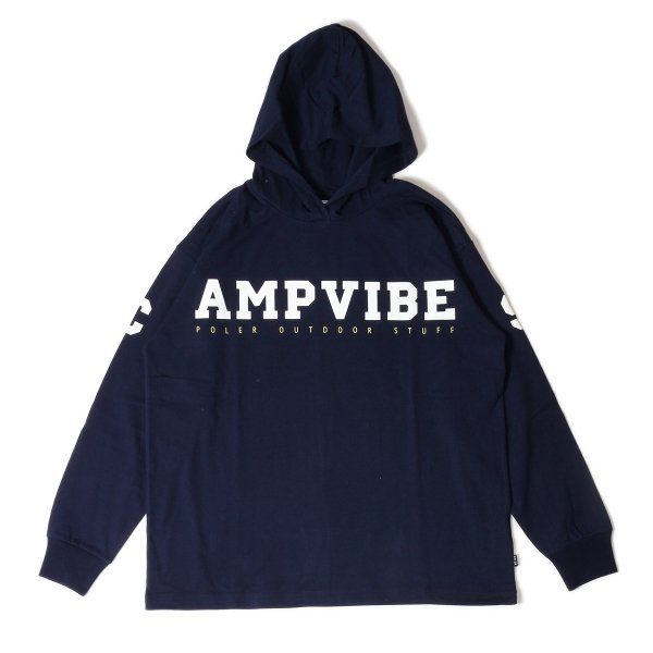 CAMP VIBES HEAVY WEIGHT L/S TEE HOODIE - NAVY