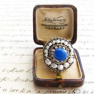 刺繍 指輪 ブルーアゲート 天然石ビーズ指輪(リング)  マリンブルーリング