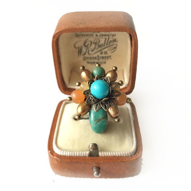ターコイズビーズ指輪(リング) 天然石ビーズ フルーツカラー リング