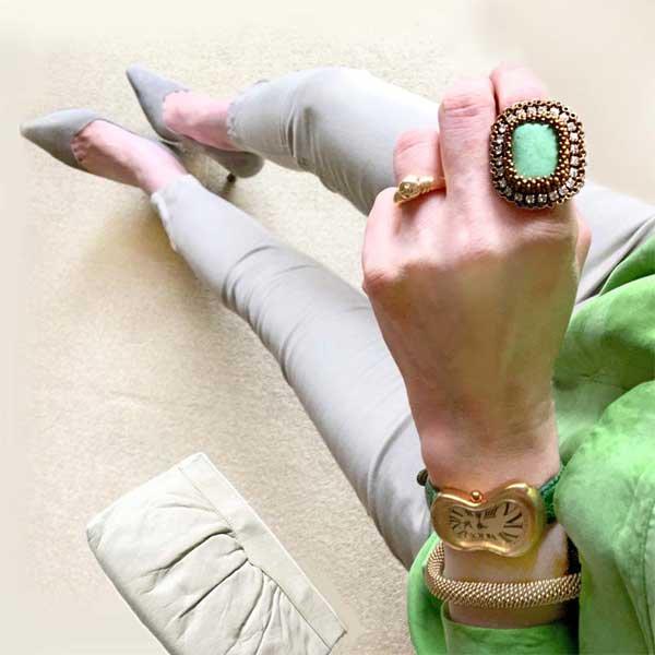 刺繍 指輪 緑 バリサイト 天然石 ビーズ指輪(リング)  * バリサイトのレグタグナル