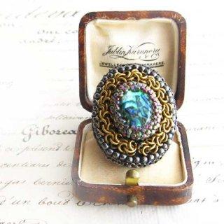 刺繍 指輪 アバロンシェル天然石、 ビーズ指輪(リング)
