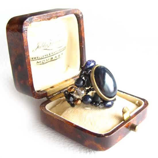 ビーズ指輪(リング) 天然石 ブルータイガーアイ カボション