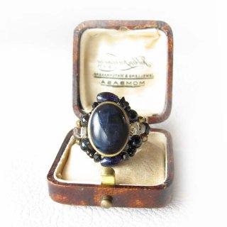 ビーズ指輪(リング) 天然石 ブルータイガーアイ カボッション