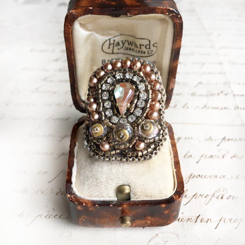 刺繍 指輪 サフィレット ヴィンテージ  ビーズ指輪(リング)  サフィレットリング