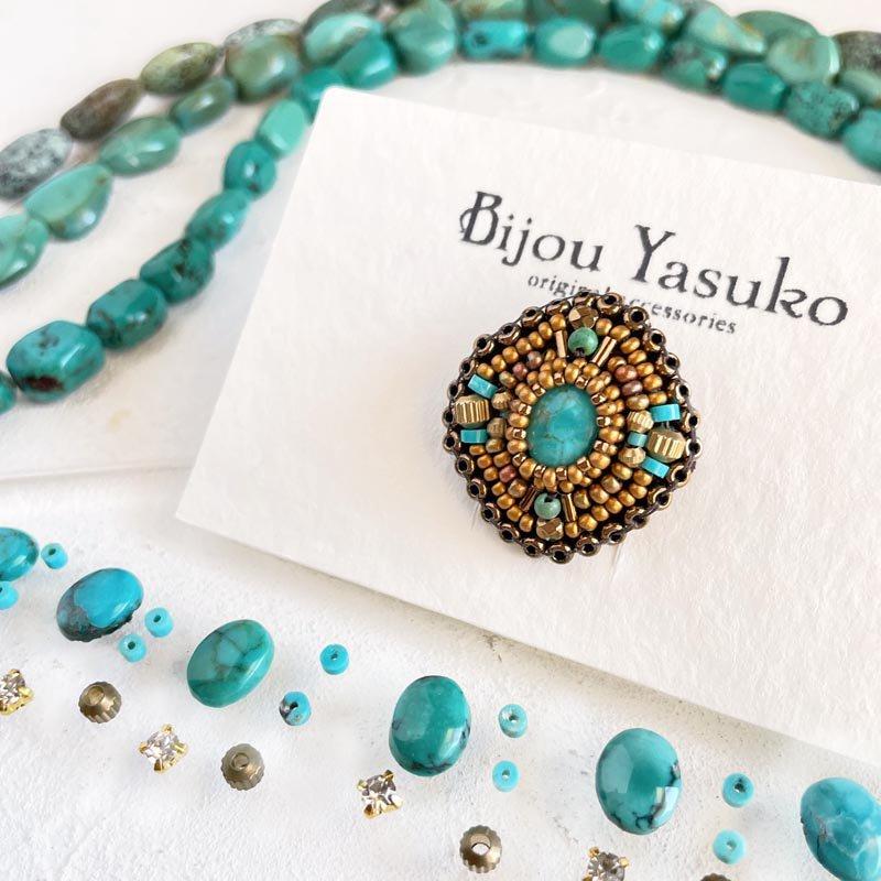 ターコイズブルー  ビーズ指輪(リング)、 ビーズ刺繍 指輪  * ターコイズオーバル