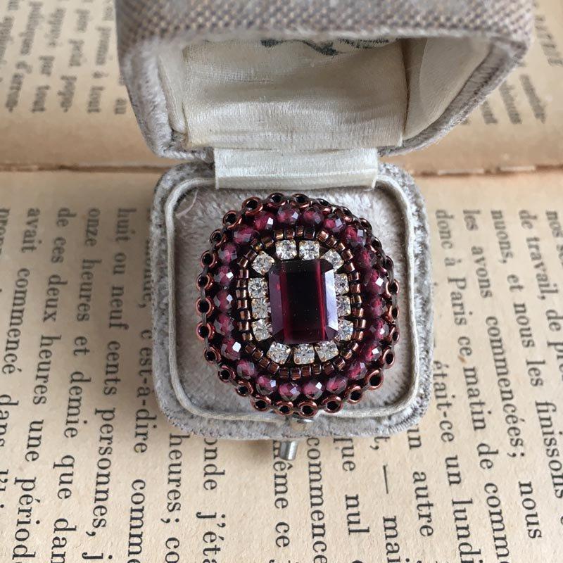 ガーネット ビーズ 刺繍 リング 赤 天然石  ビーズリング(指輪) 大ぶり