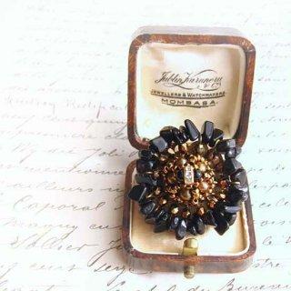 ビーズ指輪(リング) 黒 オニキスチップ 天然石リング
