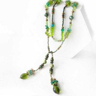 天然石ビーズラリエット 緑 ペリードット * フレッシュグリーン癒しの森フレグランス