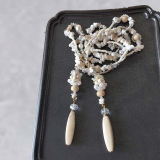 天然石ビーズラリエット 白 ホワイトオパール