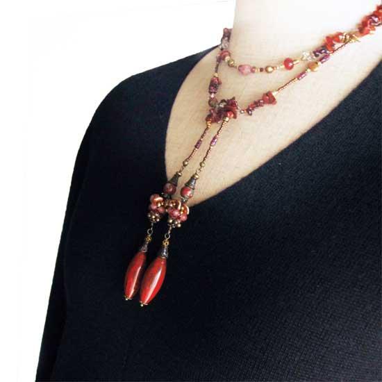 天然石ラリエットネックレス 赤 ガーネット レッドジャスパー ビーズラリエット -  赤い石畳
