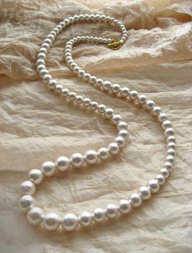 結婚式 コットンパール グラデーション ネックレス ロング 1連  ホワイト 大ぶり アレンジ 4WAY