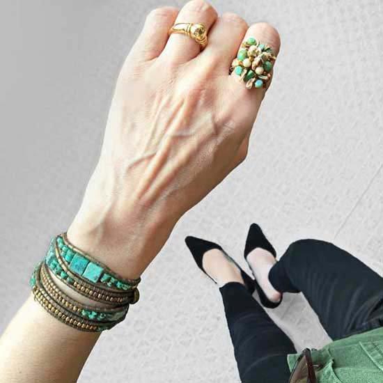 ビーズ指輪(リング) ターコイズと芥子パールのスクエア編み込みリング
