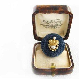 刺繍ブローチ 王冠 (クラウン) デニム パールブローチ * 王冠パール