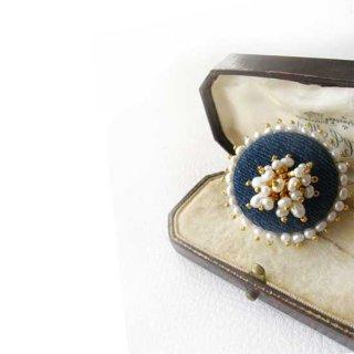 刺繍ブローチ パール フリンジ デニム * パールふち飾り