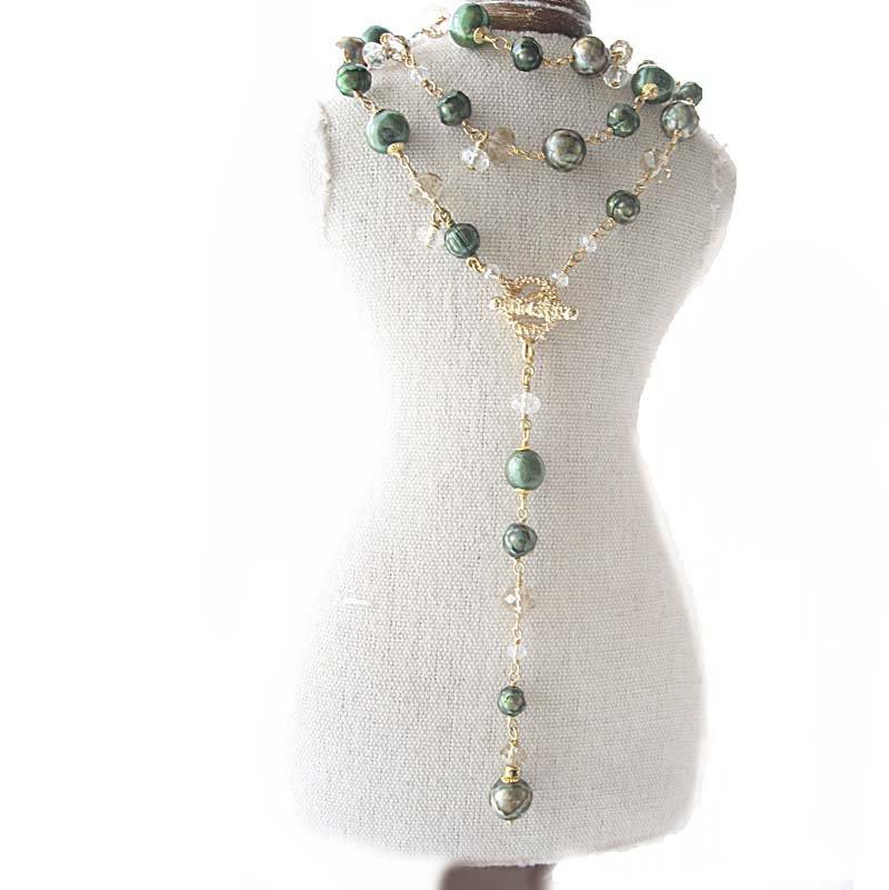 淡水パール ブレスレット 、ボリューム5連ビーズ 天然石ブレス グリーン