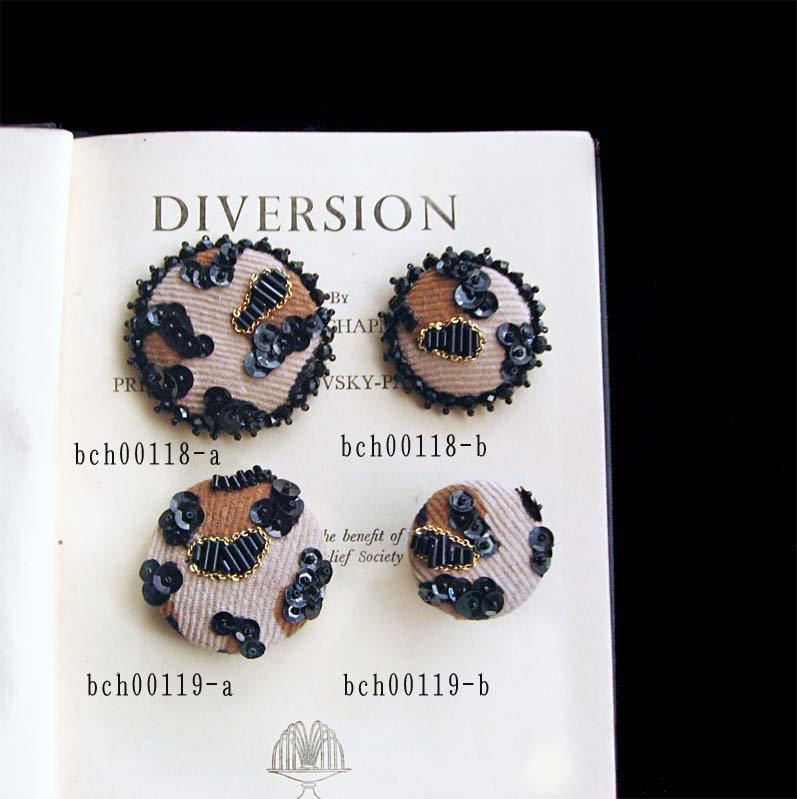 レオパード アニマル柄 アクセサリー ビーズ 刺繍 ブローチふち飾り、ヒョウ柄 アクセサリー ブローチ