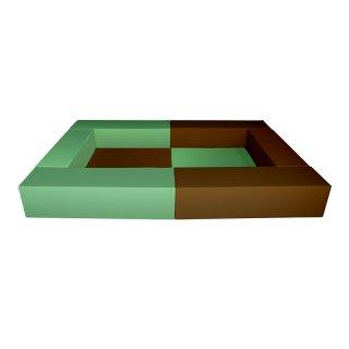 キッズルーム【チョコミント】マット2枚、クッション(L) ロの字タイプ<br>W2400×D1500×H300