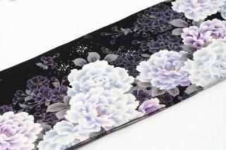 レンタル 振袖 黒・グレー ラメ 白・紫の花