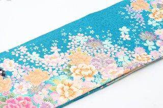 レンタル 振袖 水色ラメ 黄・ピンクの花