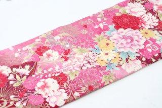 レンタル 振袖 白・ピンク 赤・ピンクの花 蝶