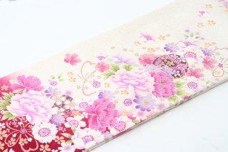 レンタル 振袖 白 ピンクの花 蝶