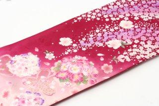 レンタル 振袖 ローズピンク 白・ピンクの花