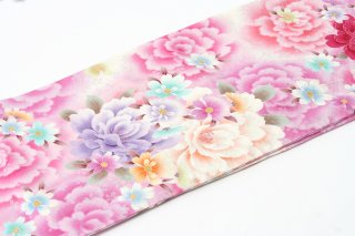 レンタル 振袖 白 ピンク・紫の淡い大きな花