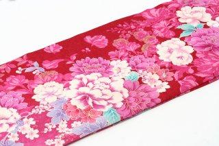 レンタル 振袖 赤 白・ピンクの大きい花