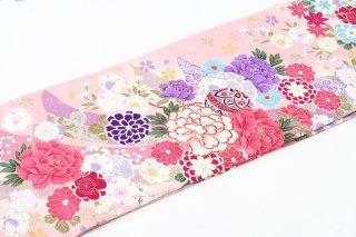 レンタル 振袖 ピンク 短冊 ピンク・紫の花
