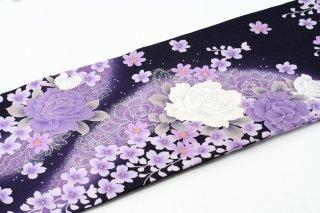 レンタル 振袖 紫 白い大きいバラ