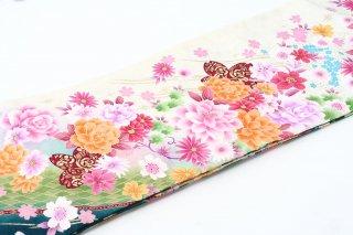 レンタル 振袖 緑・白 オレンジ・ピンクの花