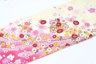 レンタル 振袖 淡い黄色・裾ピンク 小花