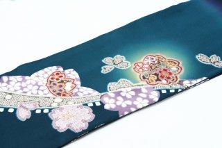 レンタル 振袖 紺緑 桜